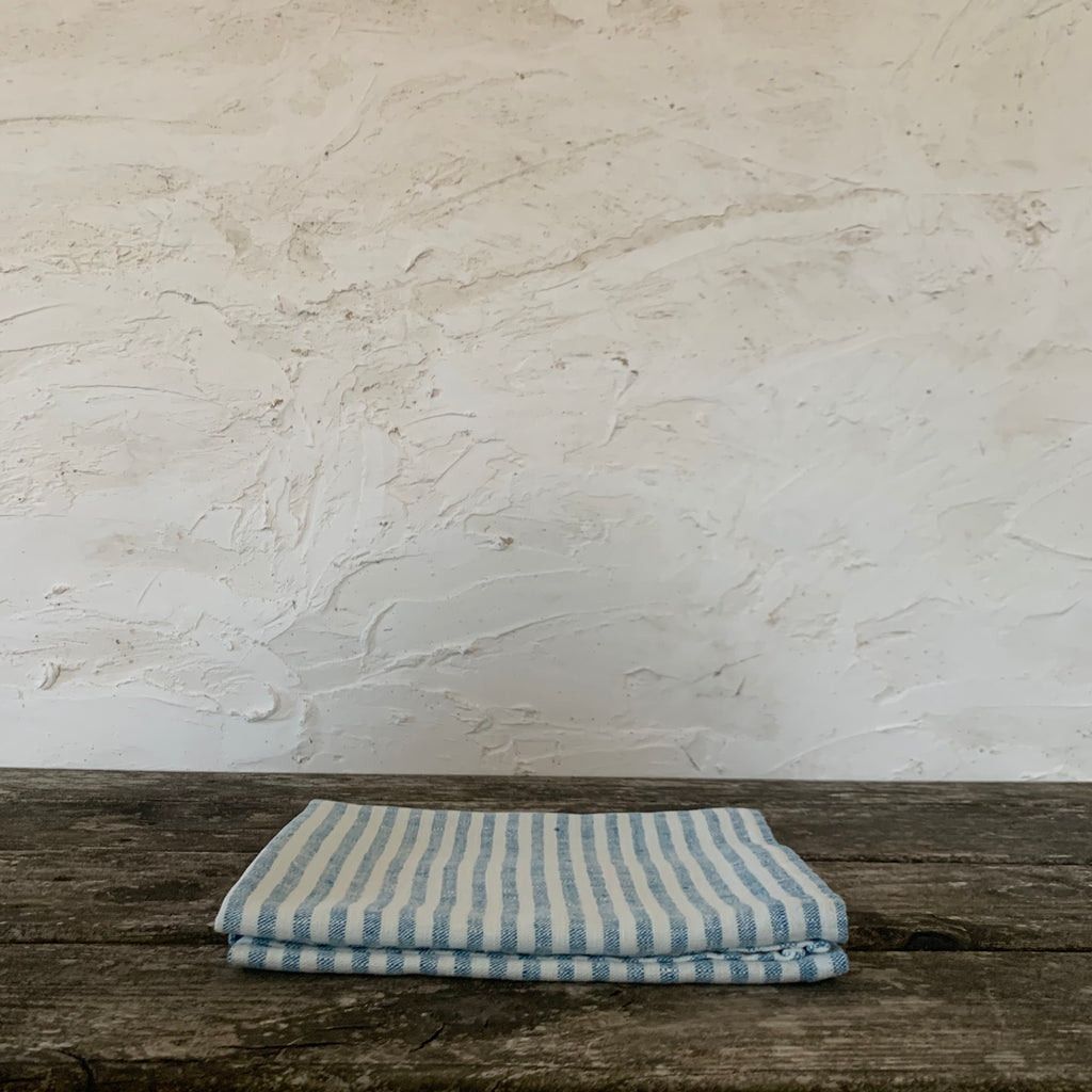 pair of ticking stripe linen hand towels - marine blue