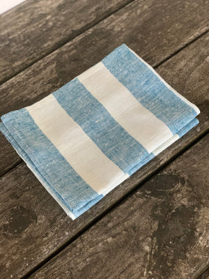 pair of linen hand towels with wide stripes- marine blue