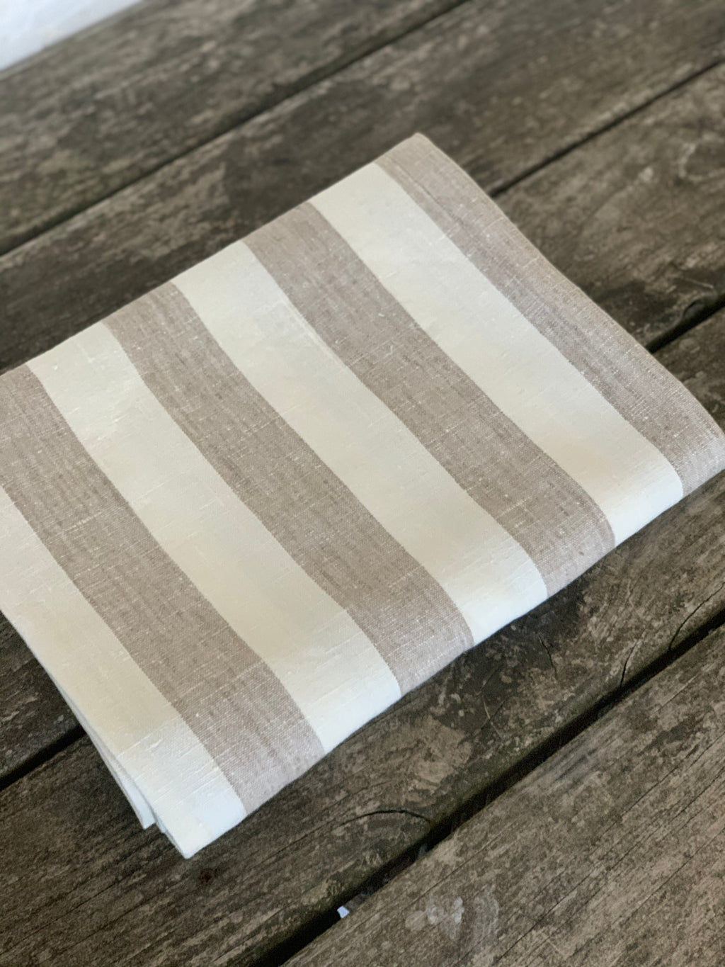 linen beach towel/ blanket - oatmeal and white stripe