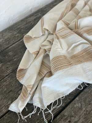 handwoven bath + beach towel- natural with beige