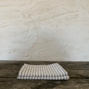 pair of linen hand towels with multi stripes- graphite