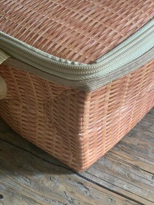 wicker print mini cooler lunch box