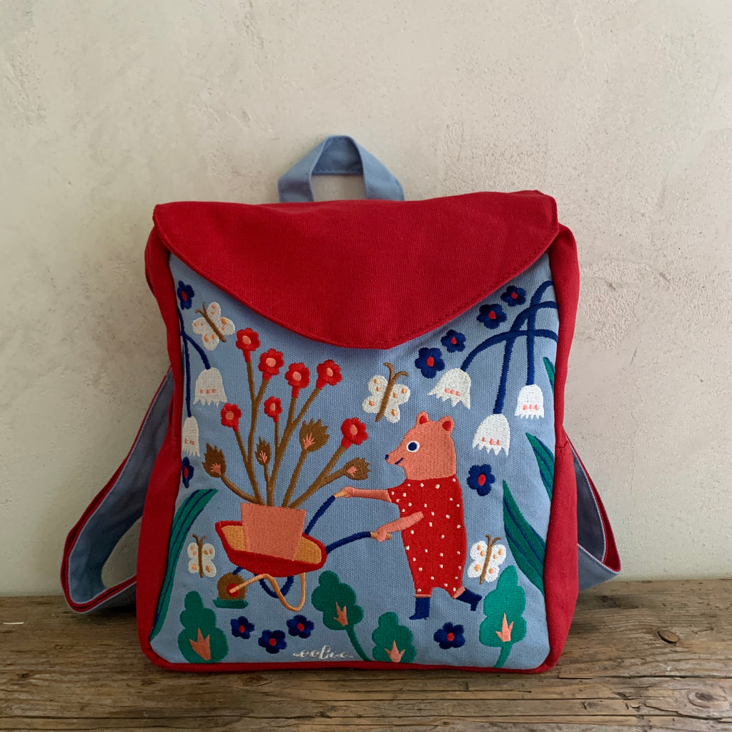 embroidered garden bear backpack