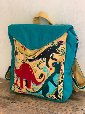 embroidered dinosaurs backpack