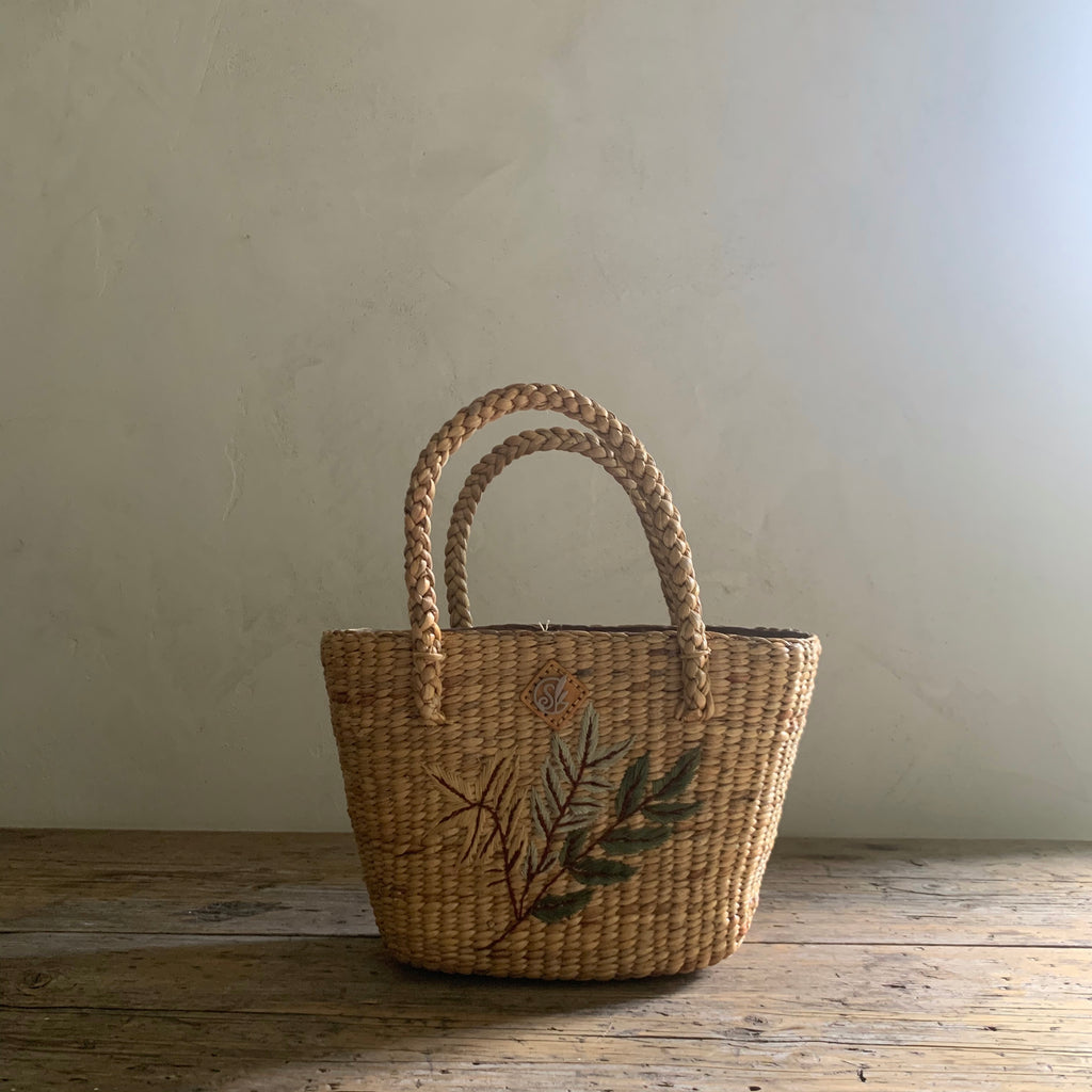 handwoven fern tote