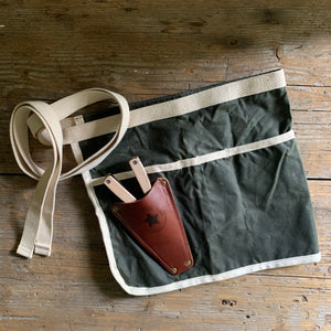 garden apron with leather pruner holster