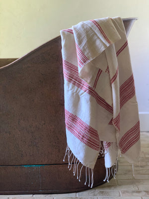 handwoven bath + beach towel- natural with adobe