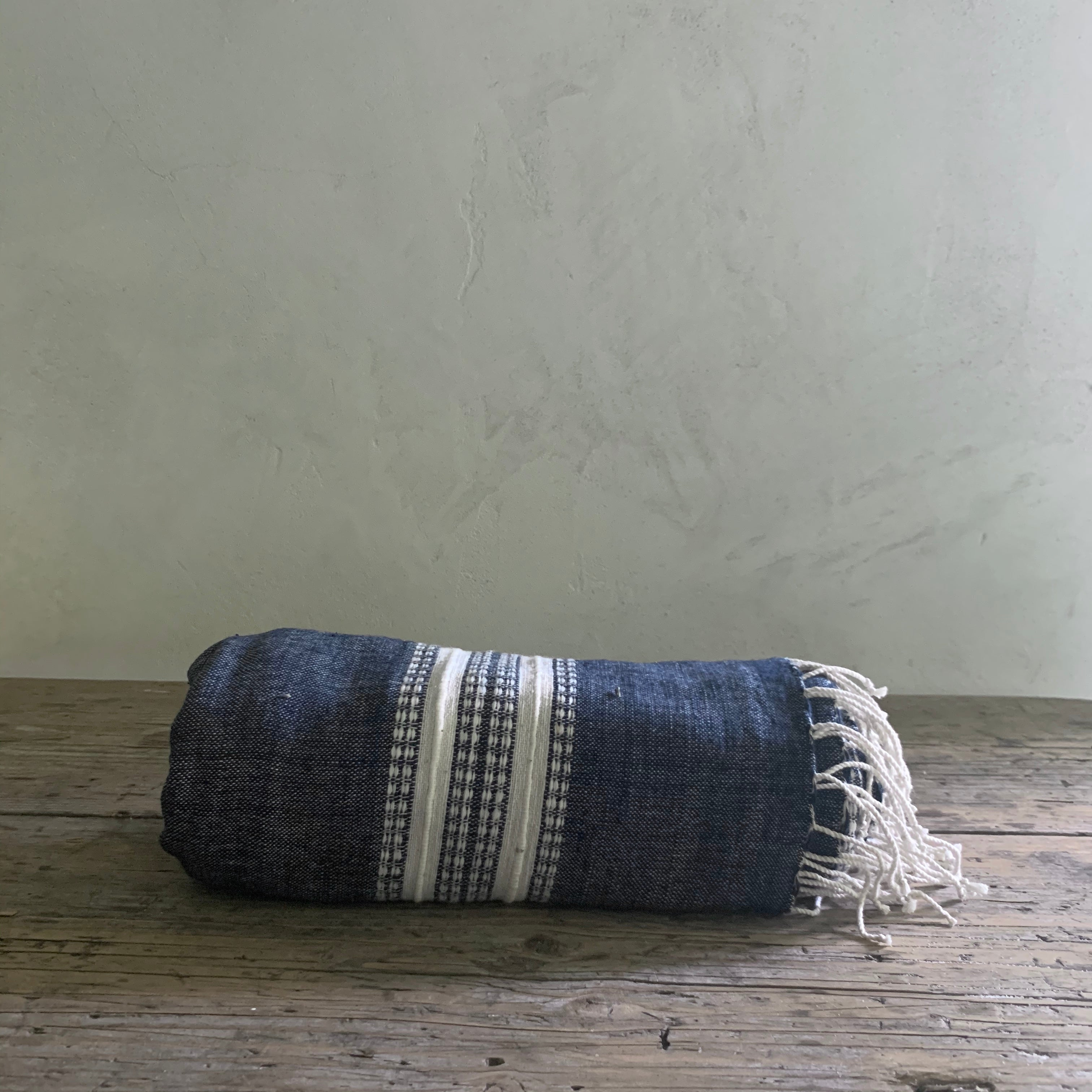 handwoven bath + beach towel- navy with natural