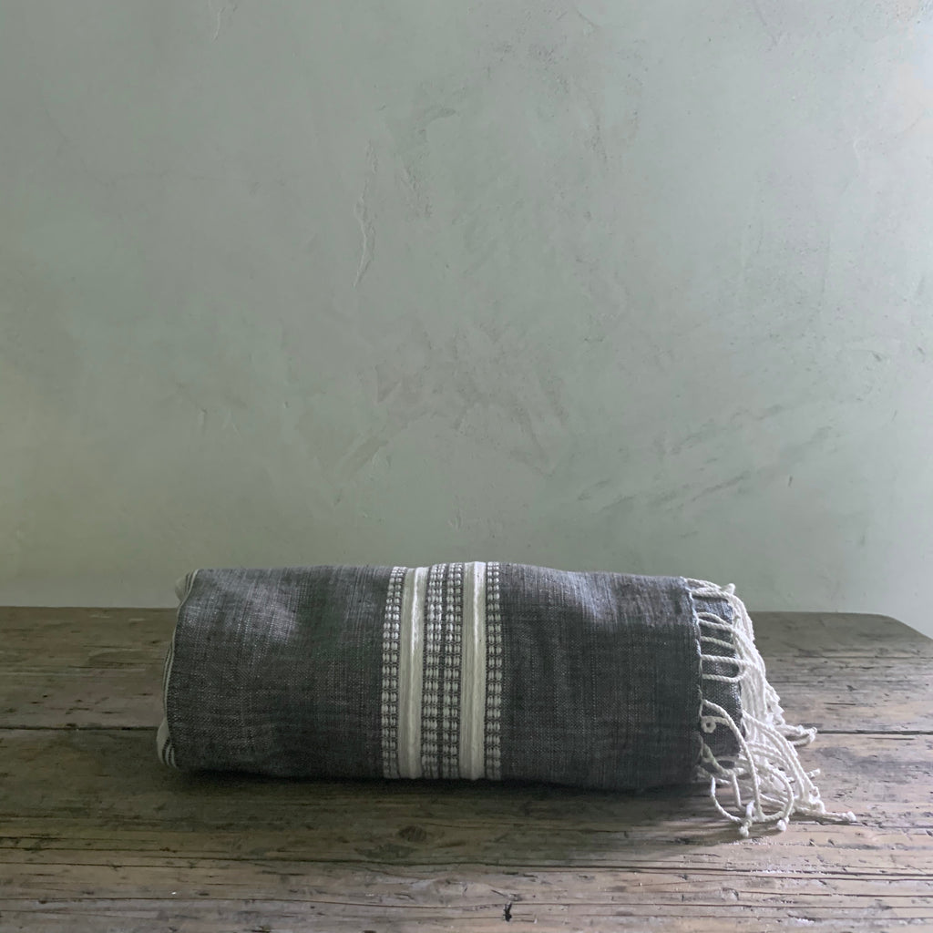 handwoven bath + beach towel- gray with natural