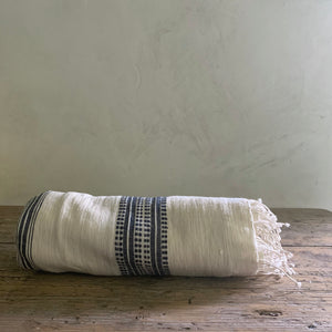 handwoven bath + beach  towel- natural with navy