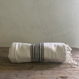 handwoven bath + beach towel- natural with charcoal