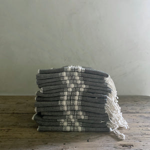 fringed hand towel- gray with natural