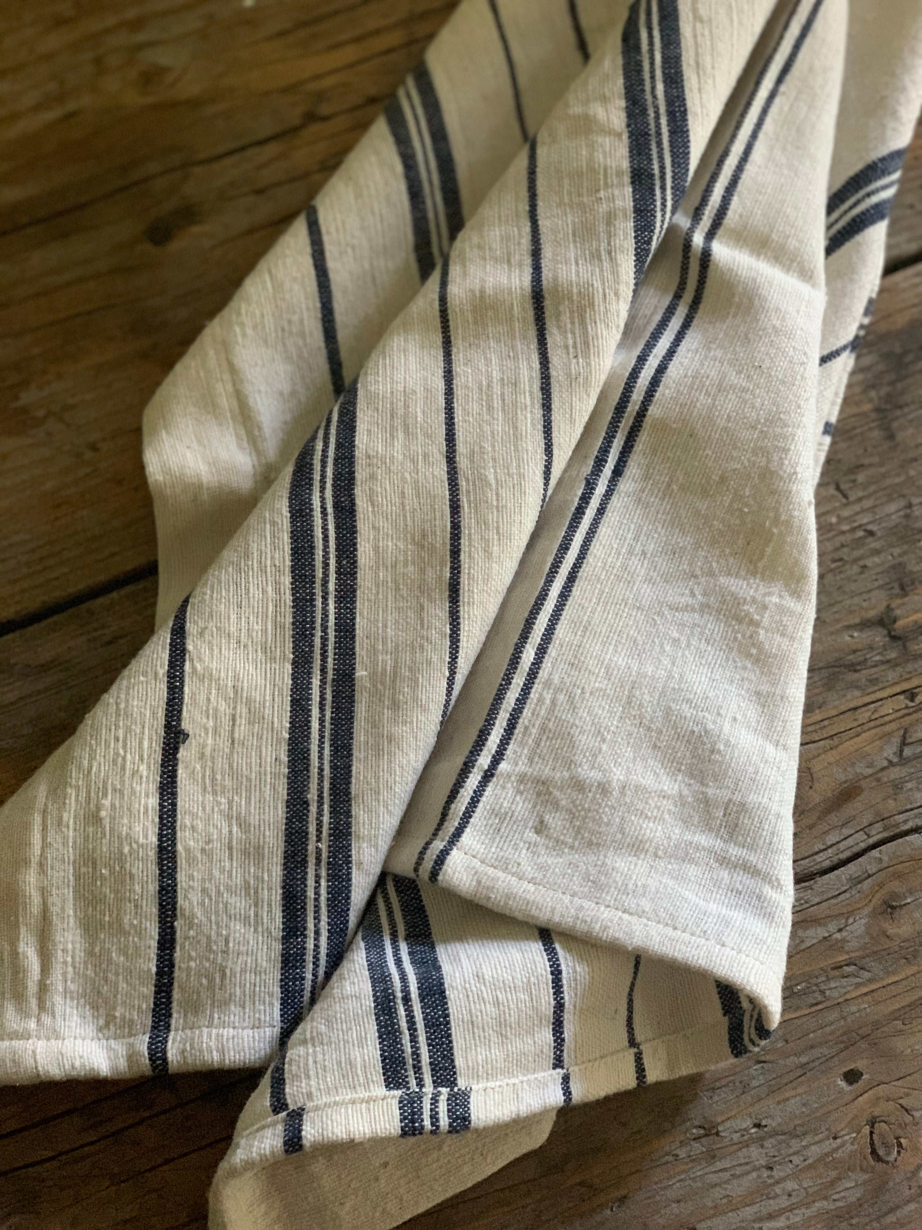 tea towel towel- natural with navy