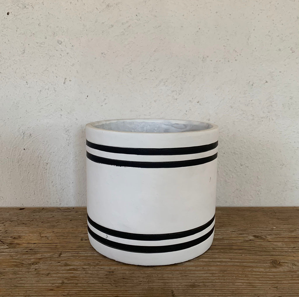 striped cement planter