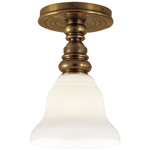 brass and frosted glass flush mount