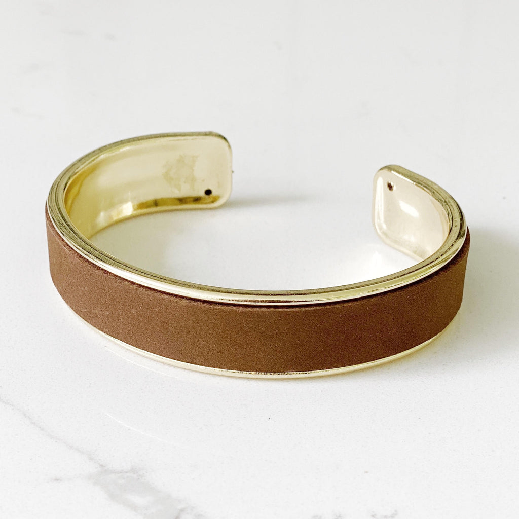 st. tropez gold cuff in terra brown