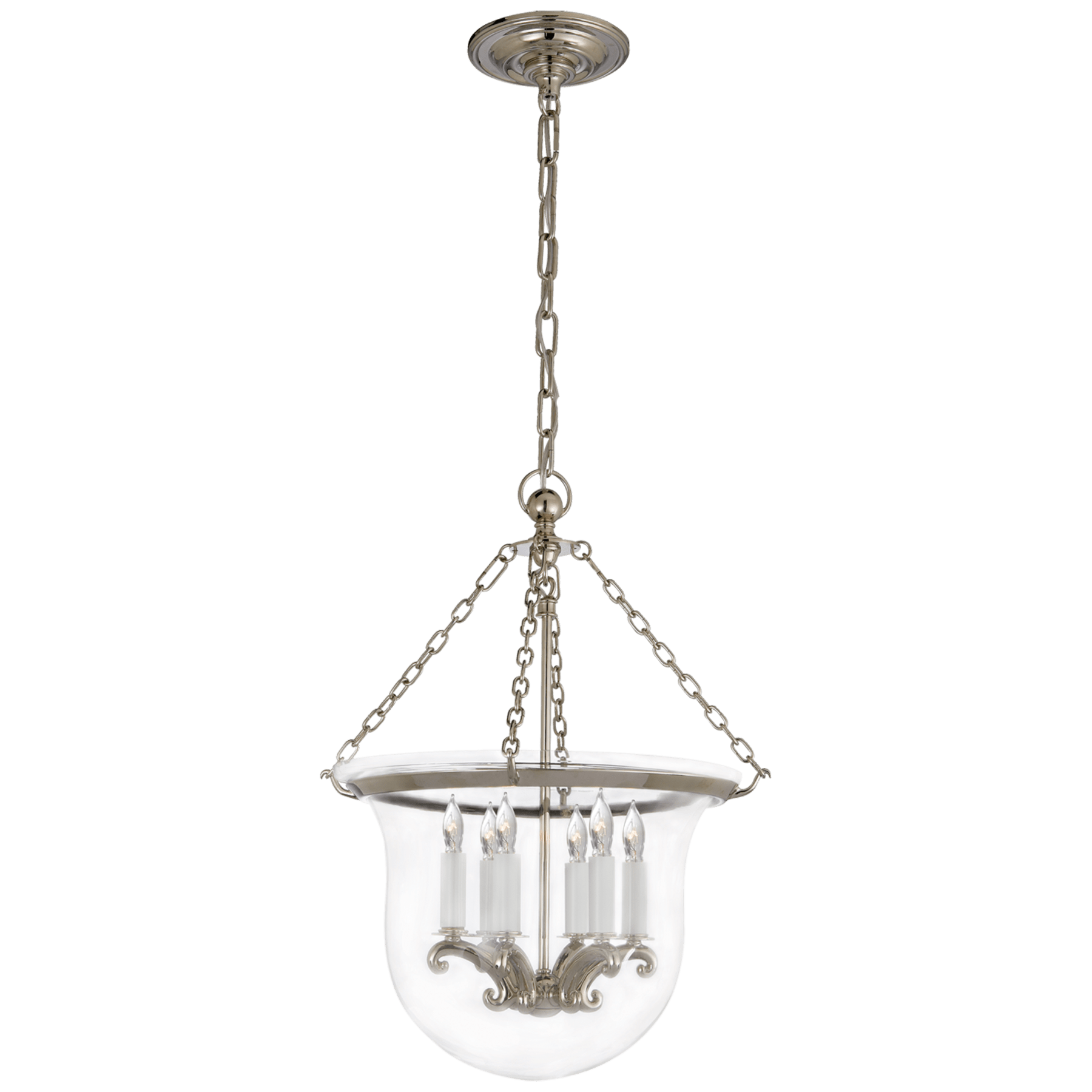 medium polished nickel bell jar lantern