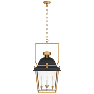medium black metal and brass lantern