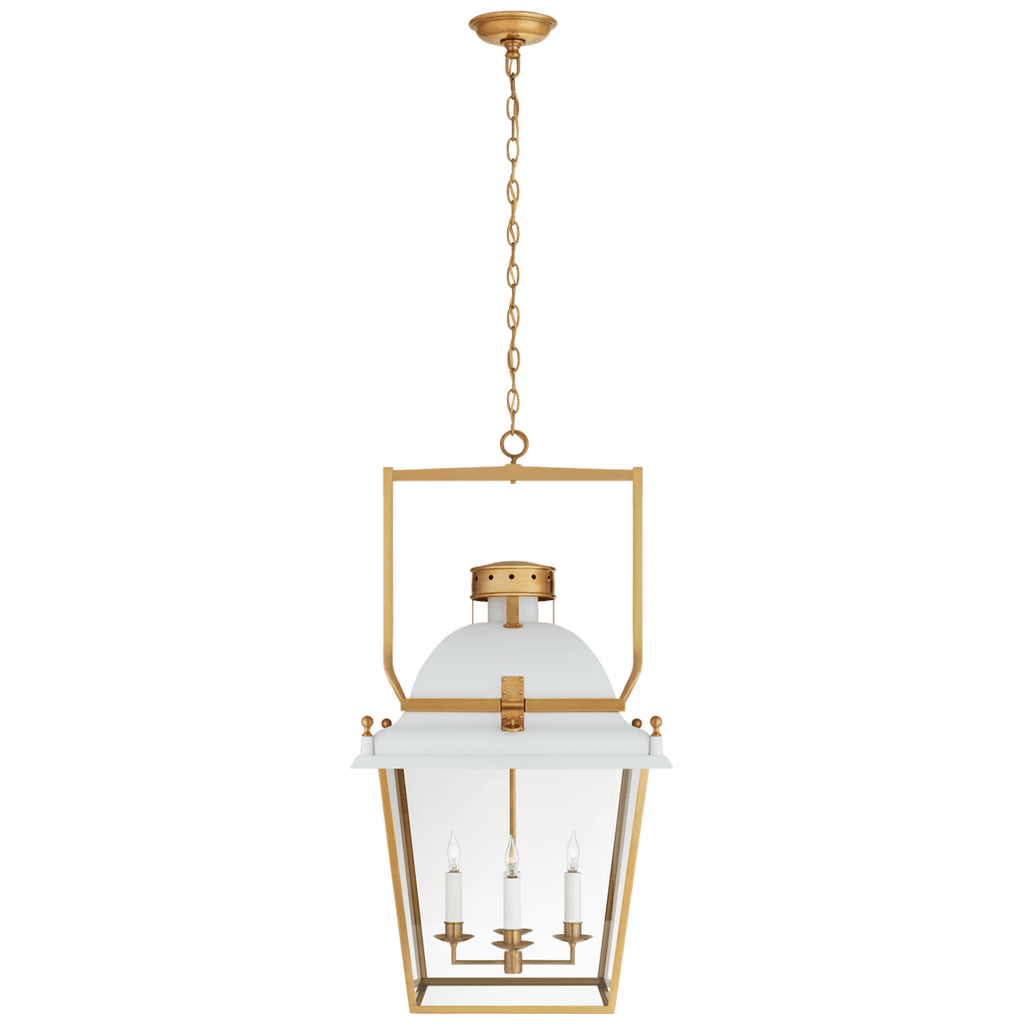 large white metal and brass lantern