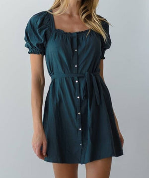 teal cotton tunic dress