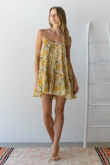 yellow floral dress / cover-up
