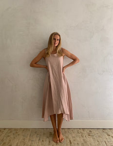 linen sleeveless dress-blush