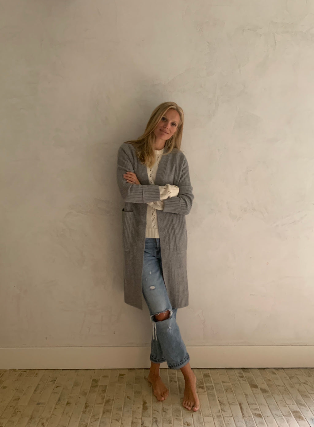 gray wool cashmere duster