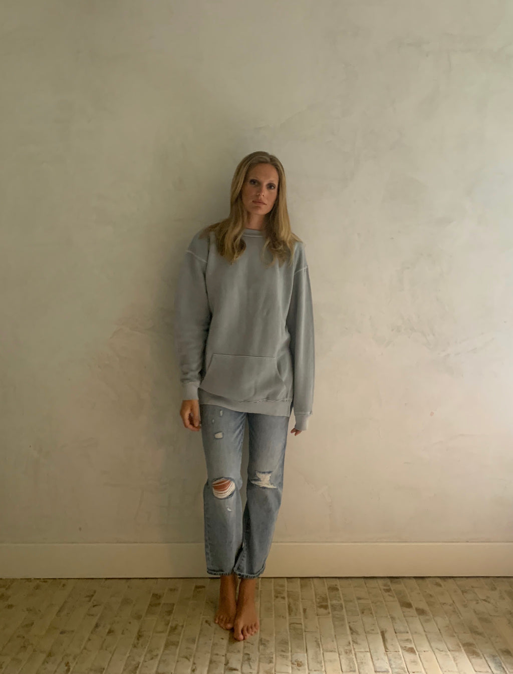 side slit sweatshirt- sky