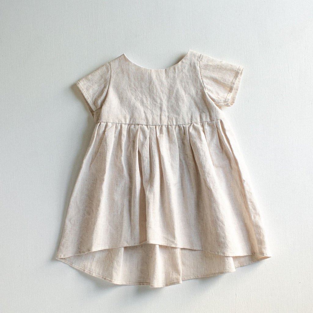 old-fashioned ivory striped linen dress