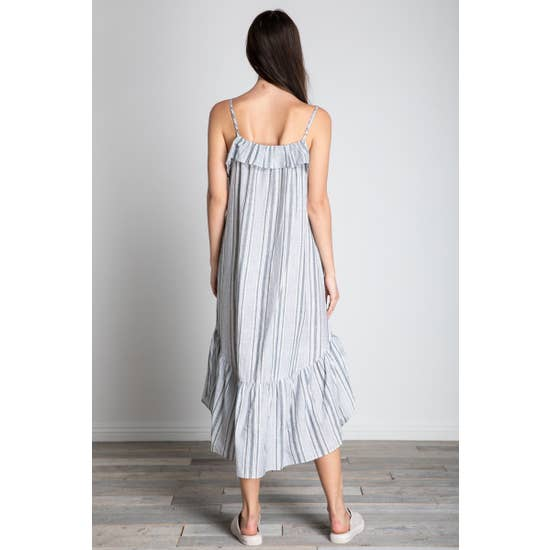 pinstripe cotton flutter dress