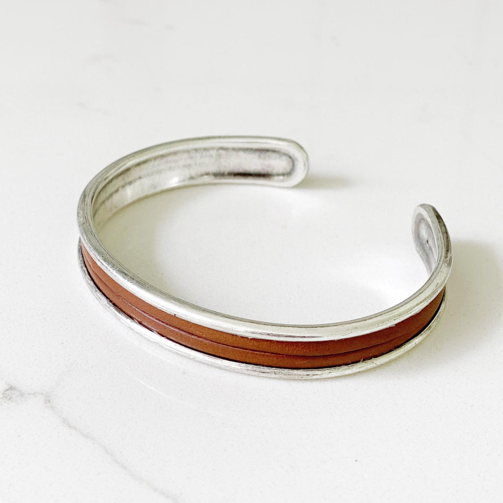 normandy silver cuff in calf leather