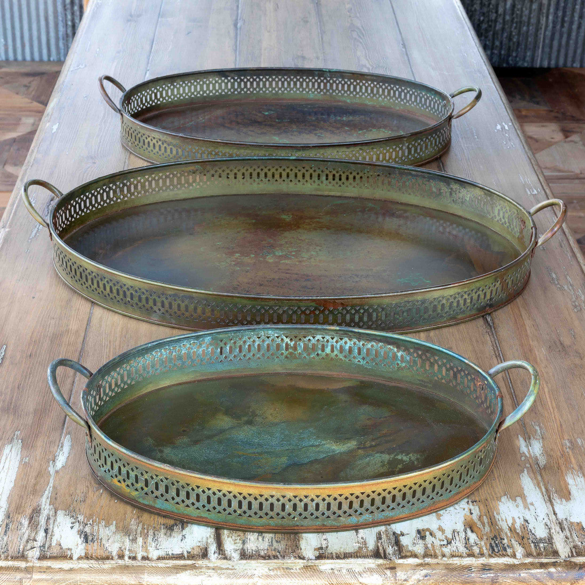 verdigris tray- large