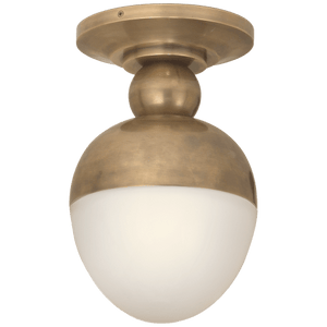 brass and white glass globe flush mount