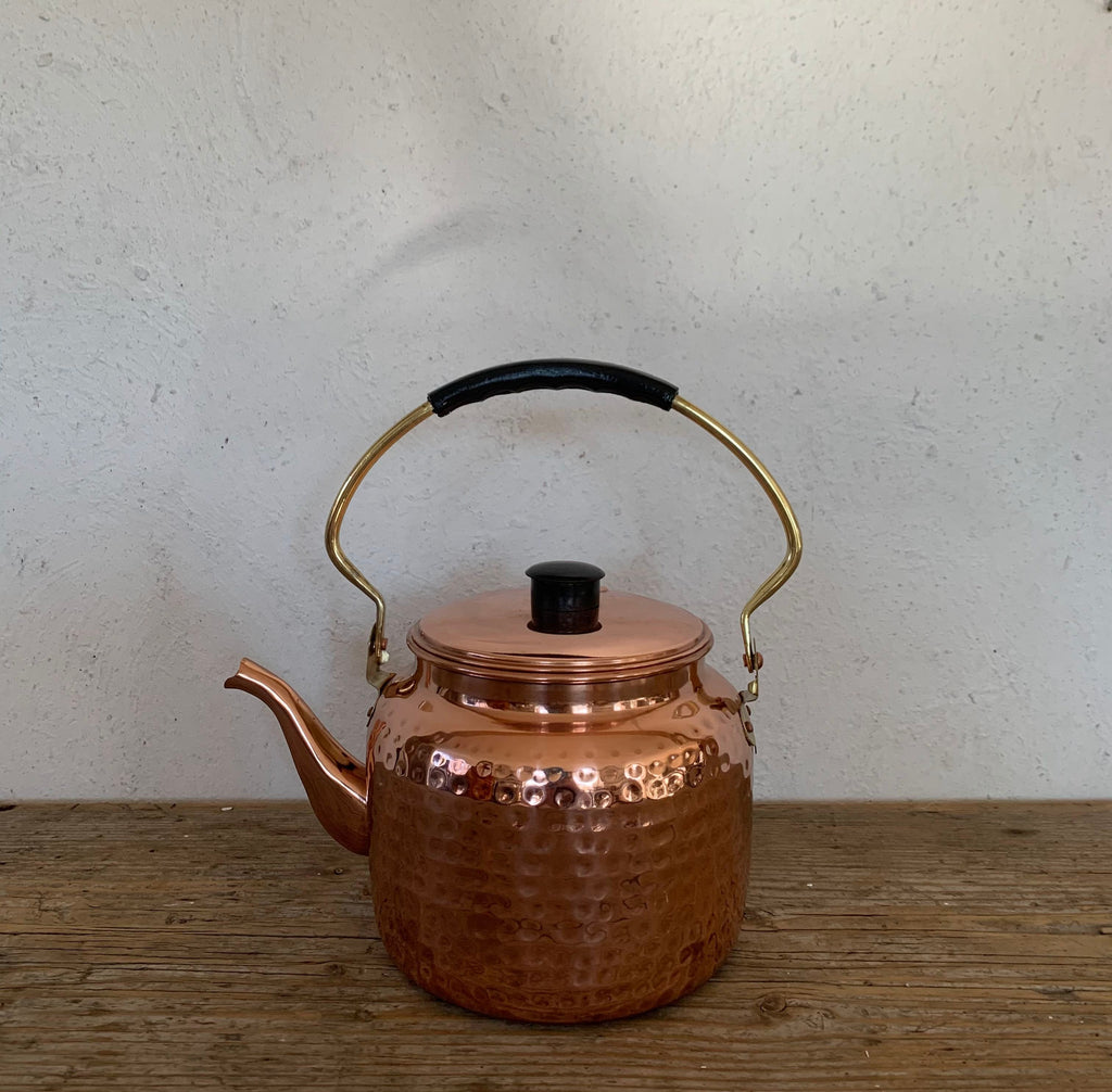 hammered copper tea kettle