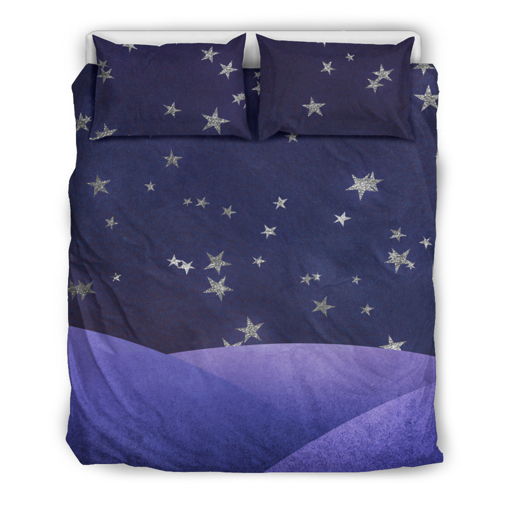 Dream Skies Purple Bedding Set, 3 Piece - Duvet Cover With Pillow Shams, and Corner Ties
