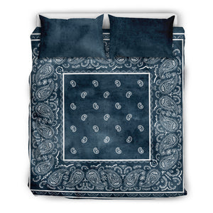 Dark Denim Blue Bandana Bedding Set, 3 Piece - Duvet Cover With Pillow Shams, and Corner Ties