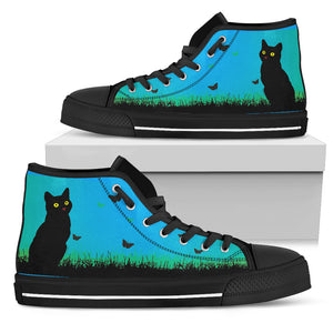 Black Cat on the Prairie - High Top Shoe (Women's)