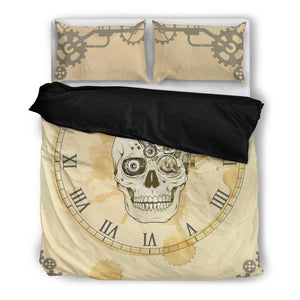 Skull O'Clock Bedding Set, 3 Piece - Duvet Cover With Pillow Shams, and Corner Ties