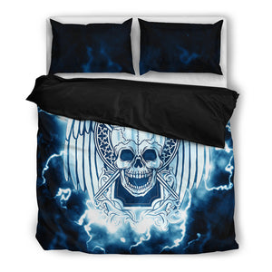 Lightning Skull Bedding Set, 3 Piece - Duvet Cover With Pillow Shams, and Corner Ties