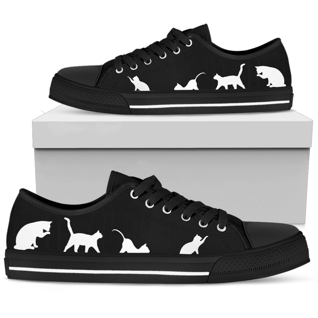 White Cats on Black - Low Top Shoe (Women's)