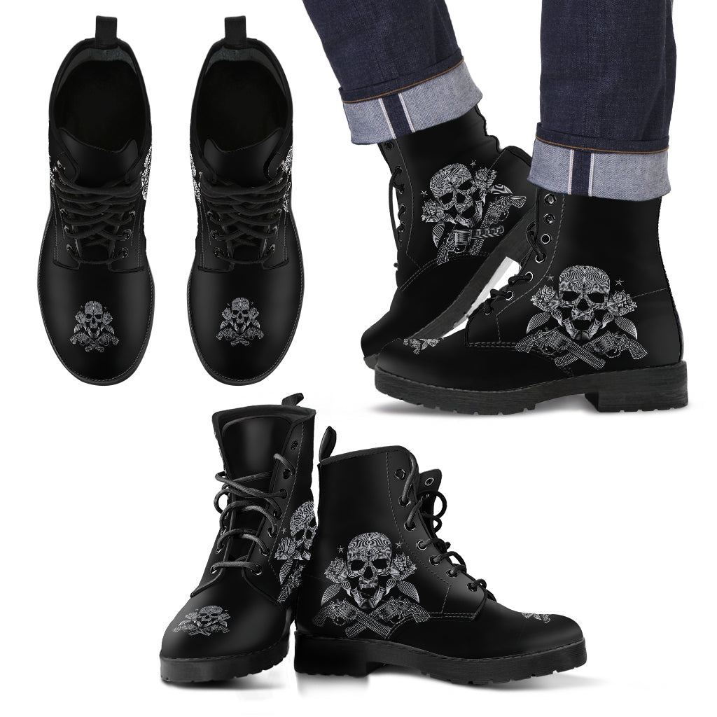 Skulls with Crossed Guns Men's Leather Boot