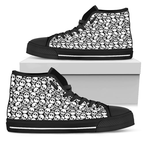 Stacked White Skulls on Black - High Top Shoe (Women's)