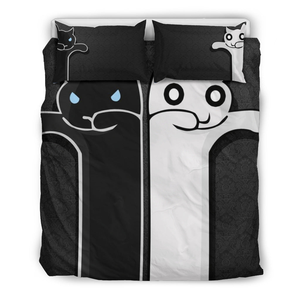 His & Hers Cats Bedding Set, 3 Piece - Duvet Cover With Pillow Shams, and Corner Ties