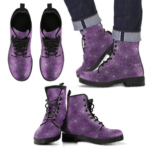 Spider Web Faux Leather Purple Mens Boots