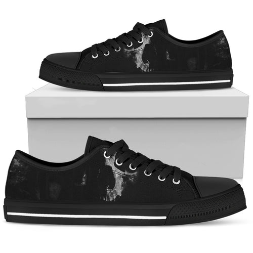Realistic Skull on Black - Low Top Shoe (Women's)