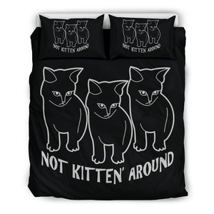 Not Kitten Around Bedding Set, 3 Piece - Duvet Cover With Pillow Shams, and Corner Ties