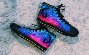 Custom Designed High Quality High Top Sneakers Pink Nebula