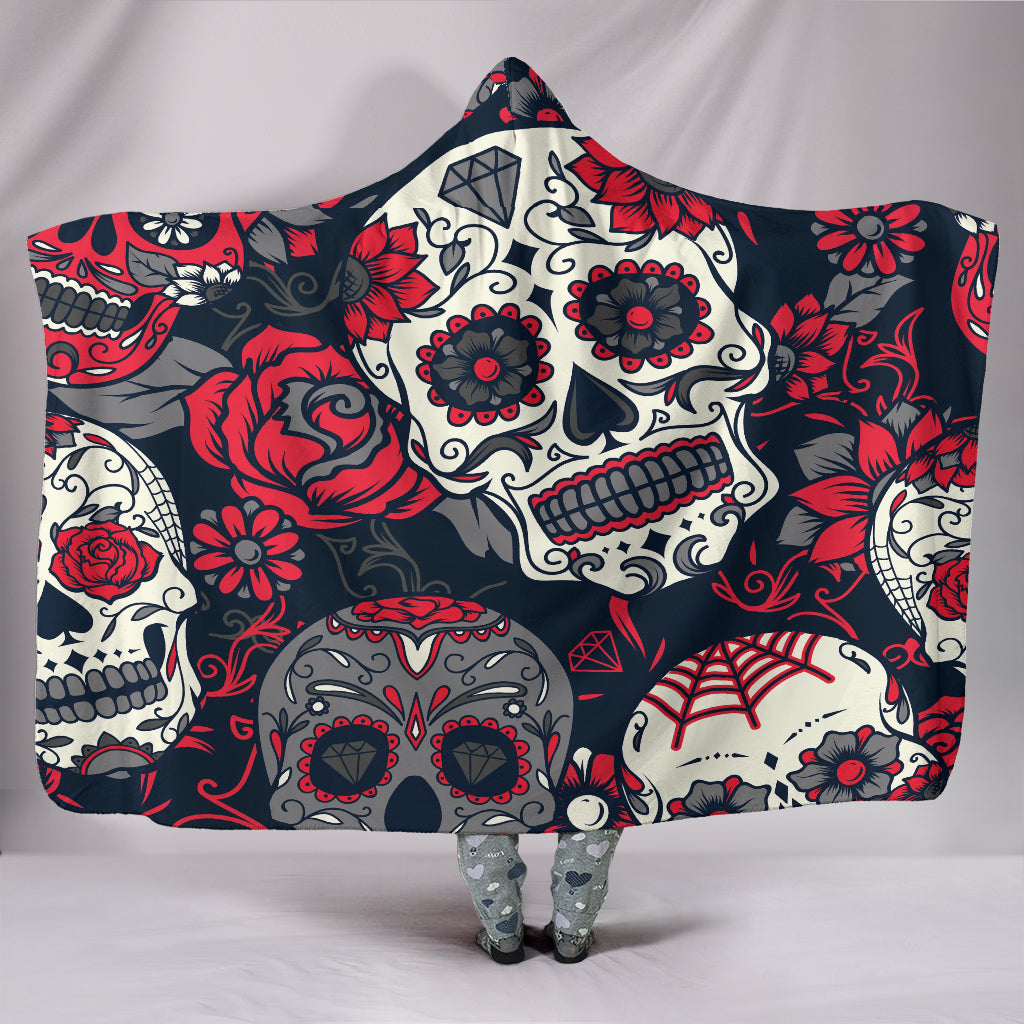 White and Grey Sugar Skulls - Hoodie Blanket