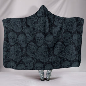 Dark Shadow Sugar Skulls - Hoodie Blanket