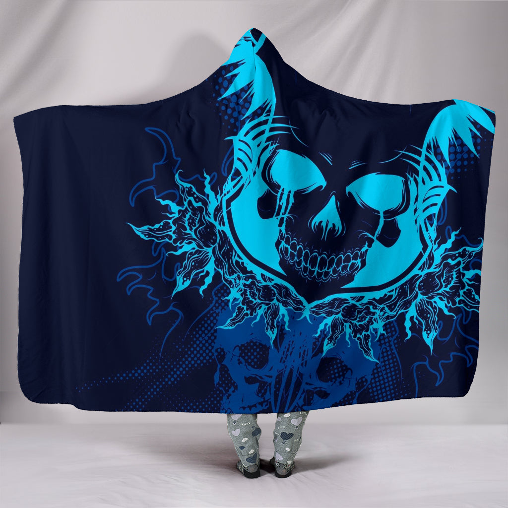 Electric Blue Skull - Hoodie Blanket